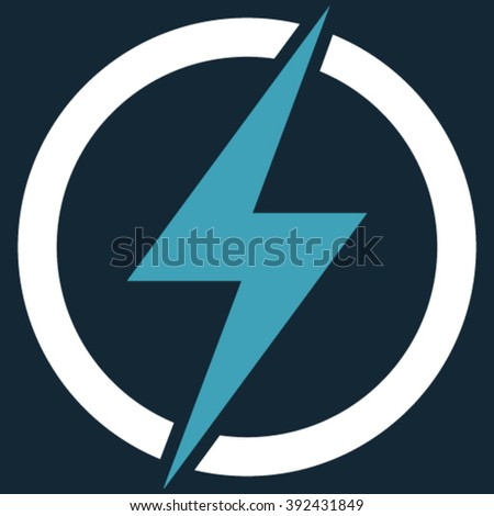 Electricity vector icon. Picture style is bicolor flat electricity icon drawn with blue and white colors on a dark blue background. - stock vector
