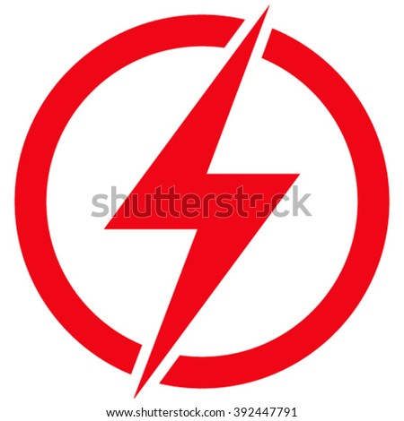 Electricity vector icon. Style is flat icon symbol, red color, white background. - stock vector