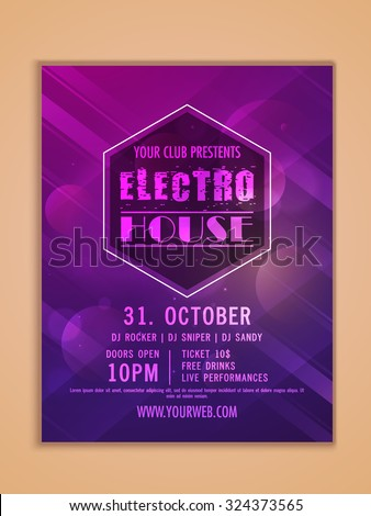 Electro Night Party celebration, one page Flyer, Banner or Template design. - stock vector
