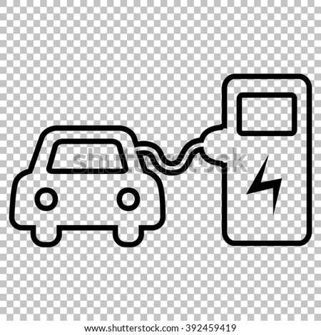 Electrocar battery charging sign. Line icon on transparent background - stock vector