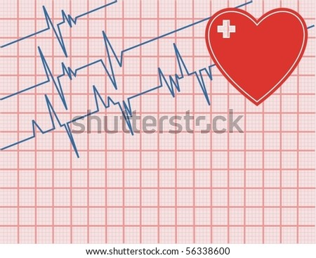 electrocardiogram-ecg - stock vector