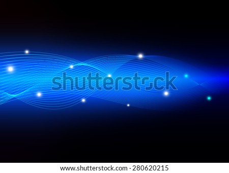 Electron motion concept on wave line with blue abstract background, vector illustration - stock vector