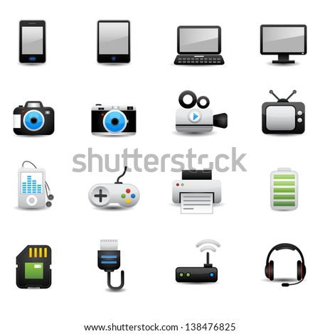 Electronic And Devices Icons - stock vector