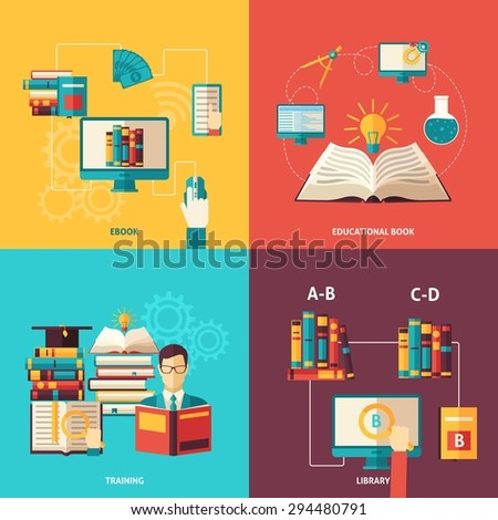Electronic and paper books and library education and training flat color icon set isolated vector illustration  - stock vector