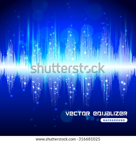 Electronic audio equipment digital equalizer sound wave track bright blue on dark background poster abstract vector illustration. - stock vector