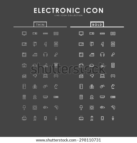 electronic-bold-and-thin-line-icons - stock vector