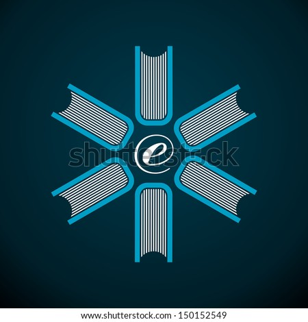 Electronic books abstract flower composition. Vector file layered for easy manipulation and custom coloring.  - stock vector