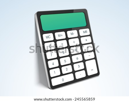 Electronic calculator on gradient background for easy calculations. - stock vector