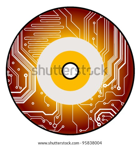 electronic cd in circuit style. vector illustration - stock vector