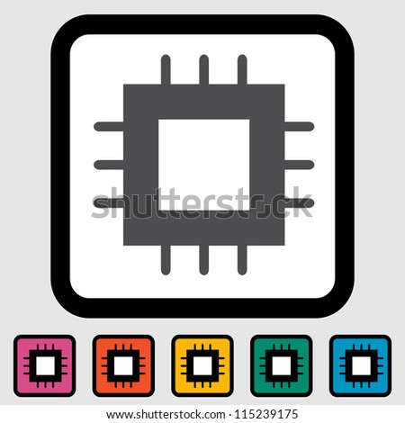 Electronic chip icon. Vector illustration. - stock vector