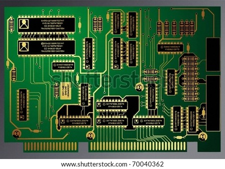 Electronic circuit - stock vector