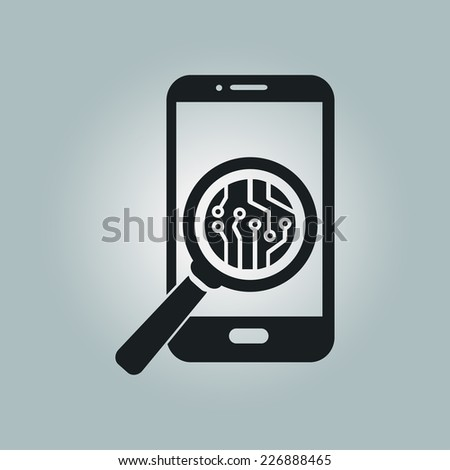 Electronic circuit of technological device. Technology scheme square symbol.  - stock vector