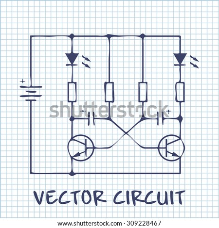 Electronic Circuit Scheme On White Squared Stock Vector HD (Royalty ...