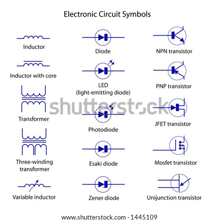 Electronic Circuit Symbols Stock Vector Royalty Free 1445109