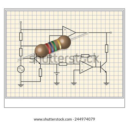 Electronic circuit with resistance in 3d - stock vector