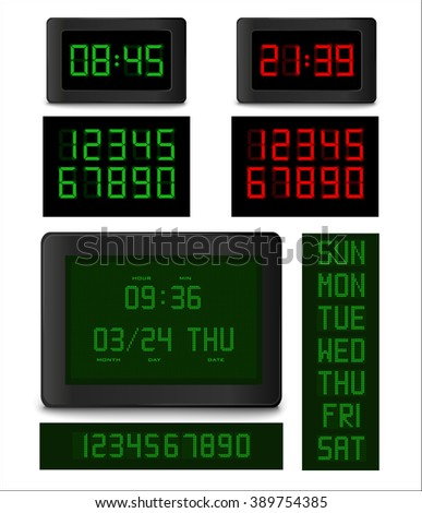 Electronic clock. Different types of digital clock with full set of numbers and weekdays. Vector illustration