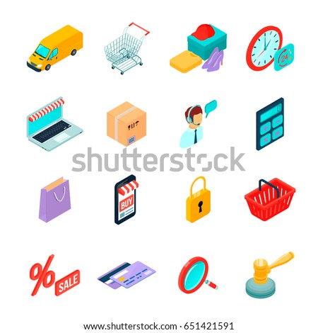 Electronic Commerce Isometric Icons Gadgets Buying Stock Vector