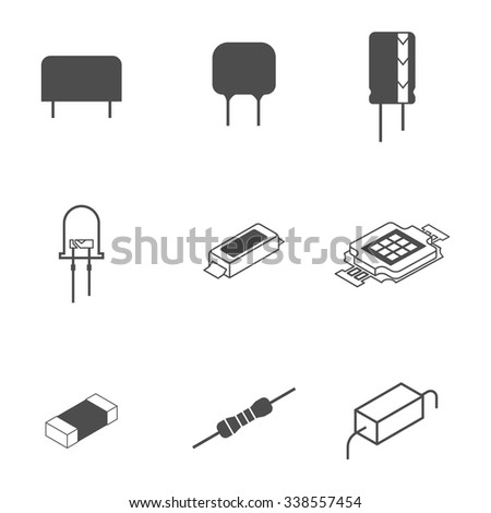 Electronic Components Icons 338557454