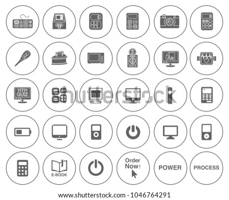 Electronic Computer Icons Set Mobile App Stock Vector 1046764291