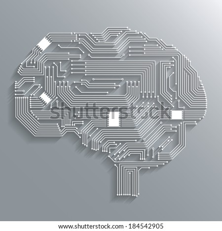 Electronic computer technology circuit board brain shape background or emblem isolated vector illustration - stock vector