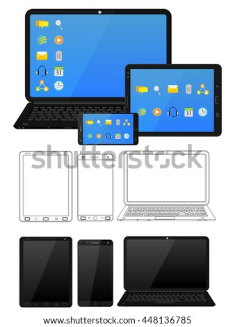 Electronic device and gadget like laptop, tablet and smartphone in vector - stock vector