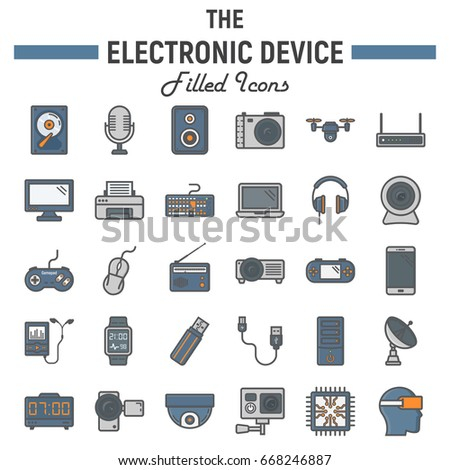 Electronic Device Colorful Line Icon Set Stock Vector 668246887 ...