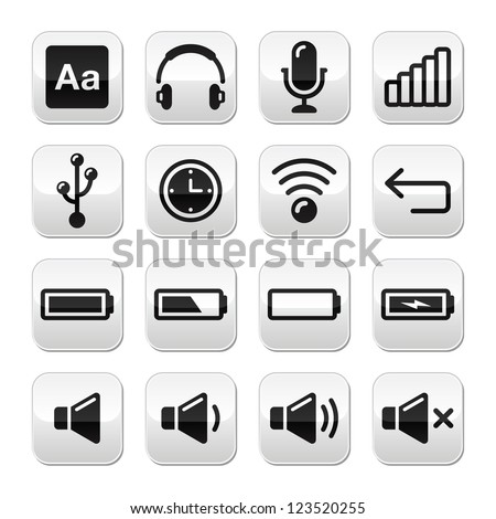 Electronic device / Computer software buttons set - vector - stock vector