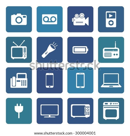 Electronic device icons. Electronic icon. Vector. Silhouette. White icons.