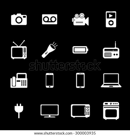 Electronic device icons. Electronic icon. Vector. White icons.
