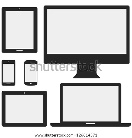 Electronic Device Icons - Set of electronic device icons isolated on white background.  Devices include desktop computer, laptop, tablet and mobile phones. - stock vector