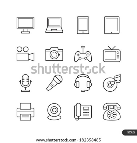 Electronic device Icons set - Vector illustration