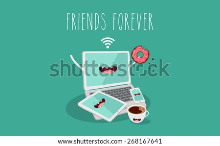 Electronic device, laptop, tablet, phone and coffee illustration. Vector cartoon. Friends forever. Comic characters.  - stock vector