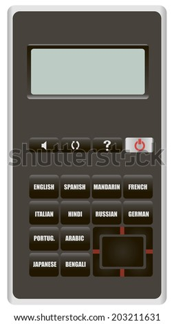 Electronic device to translate from one language to another. Vector illustration.