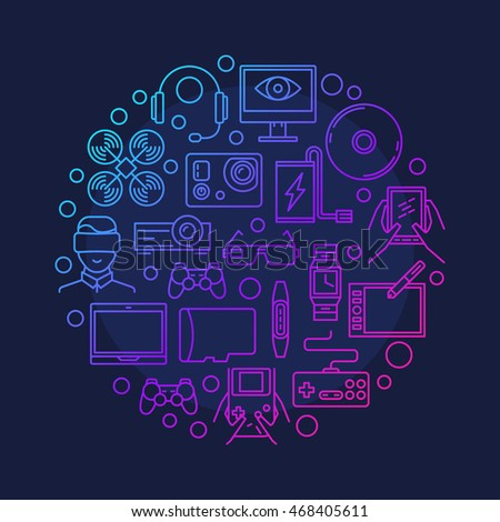 Electronic devices and gadgets symbol. Vector round colorful outline gadget sign on dark blue background