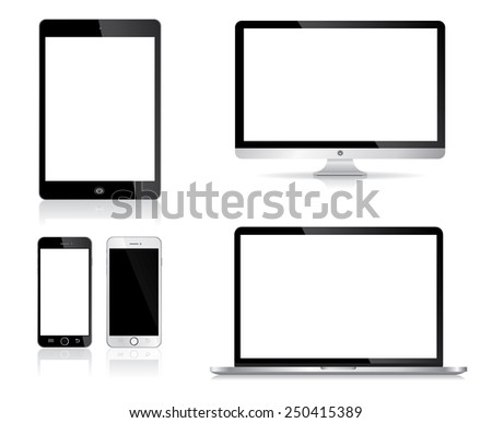 Electronic Devices on white Background, desktop computer, laptop, tablet and mobile phones, Vector illustration - stock vector