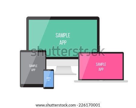 Electronic devices on white background. Vector illustration. smartphones, tablets, computer monitor, netbook. can use for printing and web element.