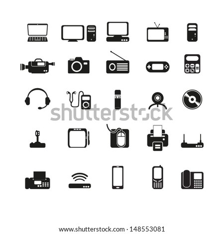 Electronic devices set - stock vector