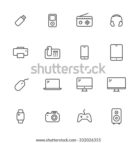 Electronic devices thin line icons - stock vector