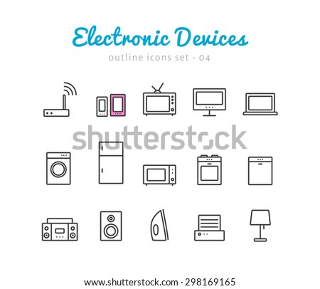 Electronic devices thin linear icons set  for web and mobile application. Household pictograms