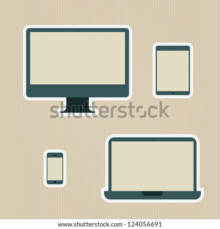 Electronic devices vintage icons set - stock vector