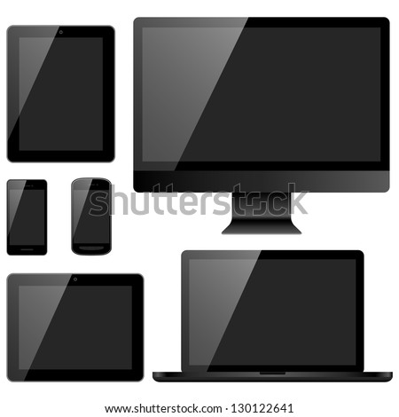 Electronic Devices with Black Screens - Set of electronic devices with black screens isolated on white background.  Desktop computer, laptop, tablets and mobile phones.  Eps10 file with transparency. - stock vector