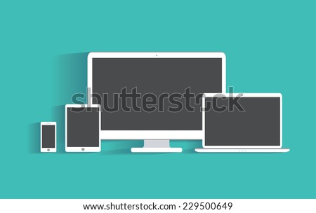 Electronic devices with blank screens. Desktop computer, tablet pc, laptop, smartphone. Flat design illustration, eps 10 vector - stock vector
