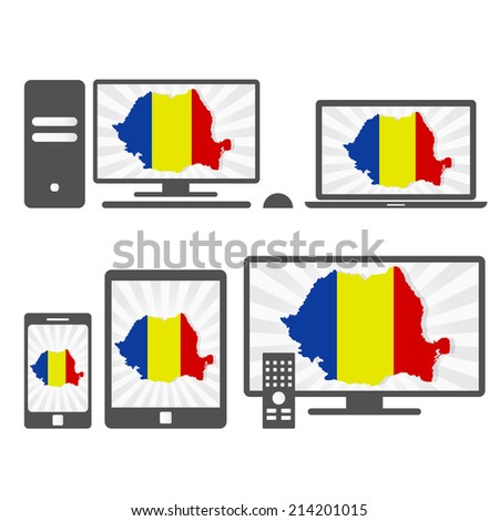 Electronic devices with the map of Romania. Many device media (tablet, pc, cellphone, laptop, smart tv) with the map and flag of Romania