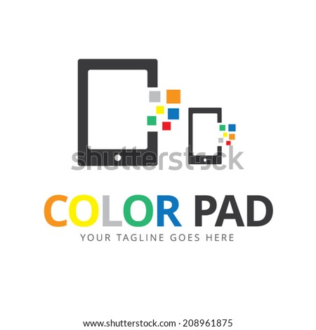 electronic devices with white blank screens in color smartphone,tablet - stock vector