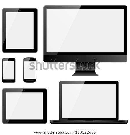 Electronic Devices with White Screens - Set of electronic devices with white screens isolated on white background.  Desktop computer, laptop, tablets and mobile phones.  Eps10 file with transparency. - stock vector