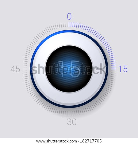 Electronic Dial Timer 15 Seconds. Vector - stock vector