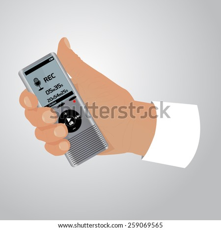 Electronic dictaphone for digital recoder with hand - stock vector