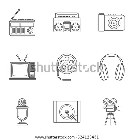 Electronic equipment icons set. Outline illustration of 9 electronic equipment vector icons for web