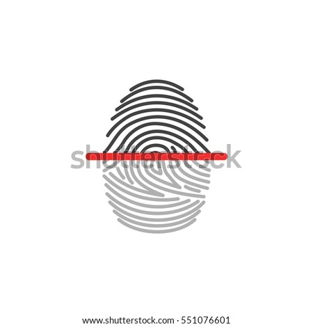 Electronic fingerprint icon scanner identification isolated on white background. Security and surveillance system