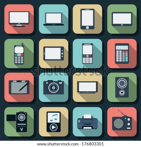 Electronic flat vector icons set 1 - stock vector